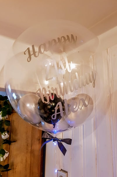 bubble balloons, balloons, personalised gift, personalised balloon